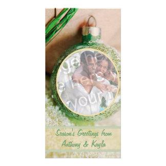 Green Ornament And Snow Photo Holiday Card Photo Greeting Card