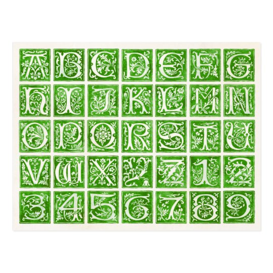 Green Ornamental Alphabet and Numbers Postcard