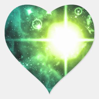 Green Outer Space Heart Sticker