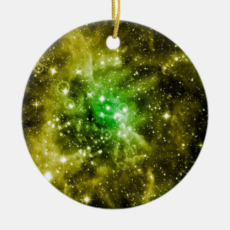 Green Outer Space Round Ceramic Decoration
