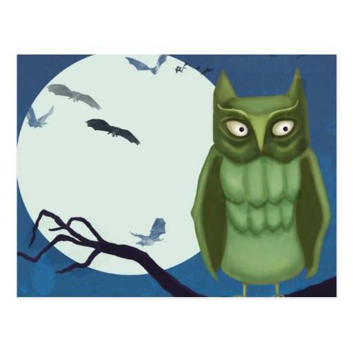 Green Owl and Bats Post Cards