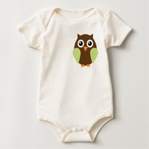 Green Owl Baby Bodysuit