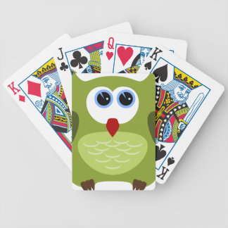 Green owl bicycle playing cards