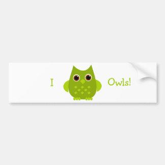 Green Owl Bumper Sticker