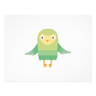Green owl cartoon 21.5 cm x 28 cm flyer