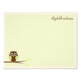 Green Owl Custom Flat Thank You Cards 11 Cm X 14 Cm Invitation Card