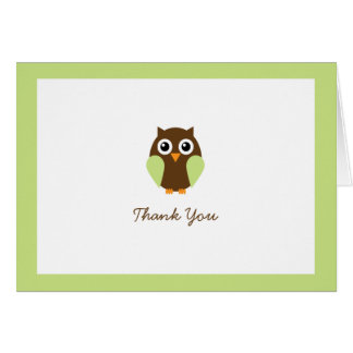 Green Owl Custom Folded Thank You Cards