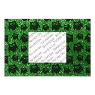 Green owl glitter pattern photo art