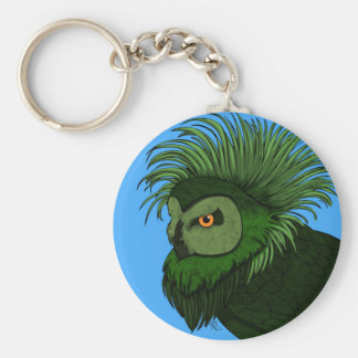 Green Owl of Paradise Basic Round Button Key Ring