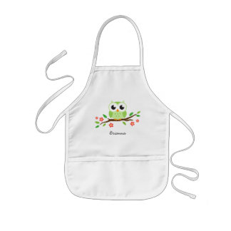Green owl on flowering branch personalized name kids apron