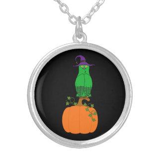 Green Owl on Halloween Pumpkin Round Pendant Necklace