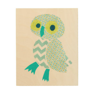Green Owl on Wood Wood Canvases