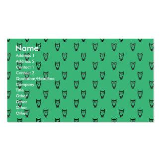 Green owl pattern business card