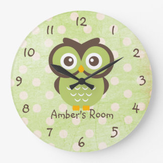 Green Owl Personalized Bedroom Large Clock