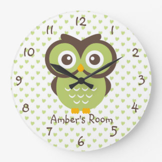 Green Owl Personalized Girl's Bedroom Large Clock