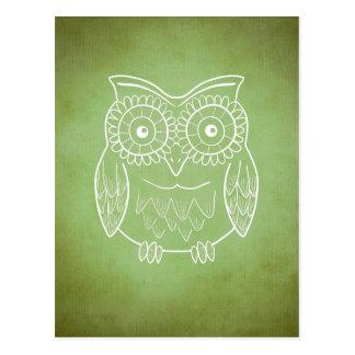 Green Owl Postcard