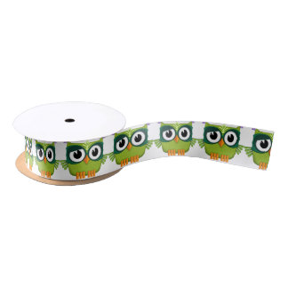green owl satin ribbon