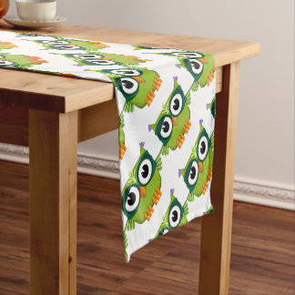 green owl short table runner