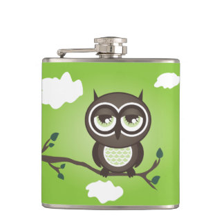 Green Owl Sitting on a Branch Flask