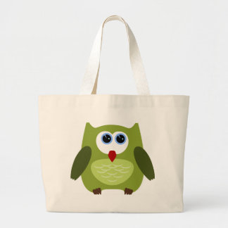 Green owl jumbo tote bag
