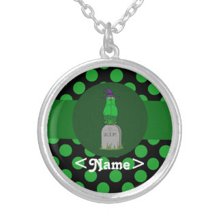 Green Owl Witch with Grave Stone & Green Dots Round Pendant Necklace