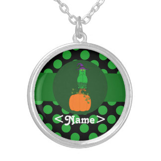 Green Owl Witch with Pumpkin & Green Dots Round Pendant Necklace