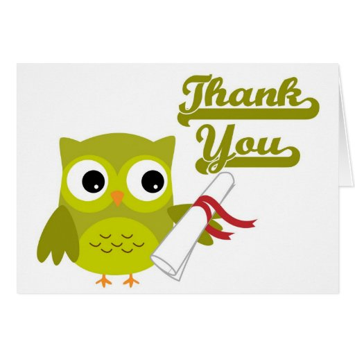 Green Owl with Diploma Graduation Thank You Card