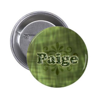 Green Paige Pinback Buttons
