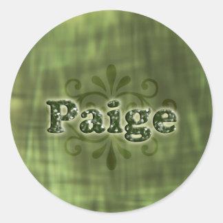 Green Paige Round Sticker