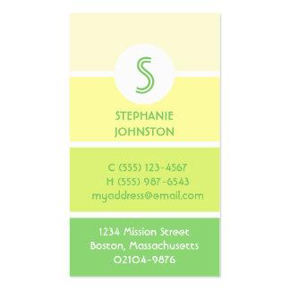 Green paint chip modern monogram personal calling business card template
