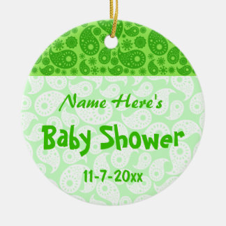 Green Paisley Baby Shower Ornament