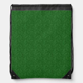 Green Paisley Drawstring Bag