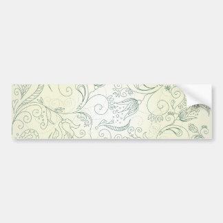 Green Paisley Flower and Bird Doodles Bumper Sticker