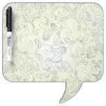 Green Paisley Flower and Bird Doodles Dry-Erase Boards
