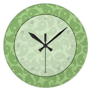 Green Paisley. Large Clock