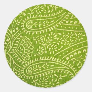 Green paisley pattern classic round sticker