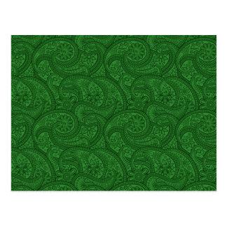Green Paisley Postcard