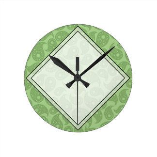 Green Paisley. Round Clock