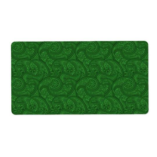 Green Paisley Shipping Label