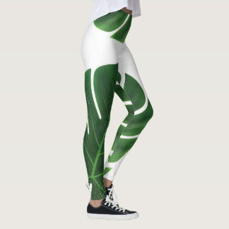 green palm leaf leggings