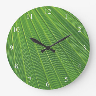 Green Palm Leaf Small Numbers Large Clock