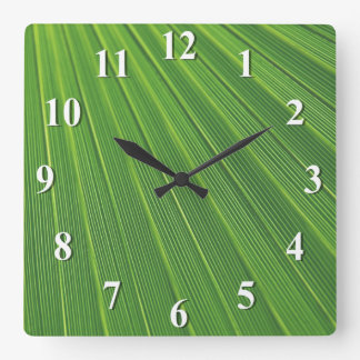 Green Palm Leaf Square Wall Clock