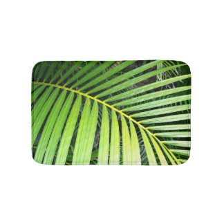Green Palm Leaf Tropical Bath Mat