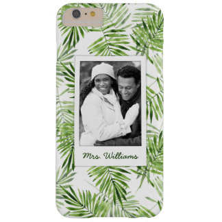 Green Palm Leaves | Add Your Photo & Name Barely There iPhone 6 Plus Case