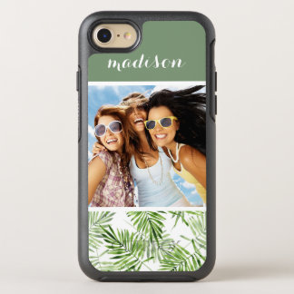 Green Palm Leaves | Add Your Photo & Name OtterBox Symmetry iPhone 8/7 Case