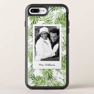 Green Palm Leaves | Add Your Photo & Name OtterBox Symmetry iPhone 8 Plus/7 Plus Case