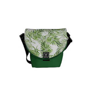 Green Palm Leaves Messenger Bag