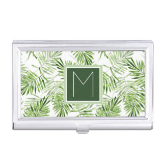 Green Palm Leaves | Monogram Business Card Holder