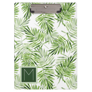 Green Palm Leaves | Monogram Clipboard