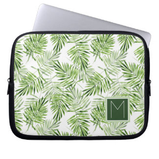 Green Palm Leaves | Monogram Computer Sleeves